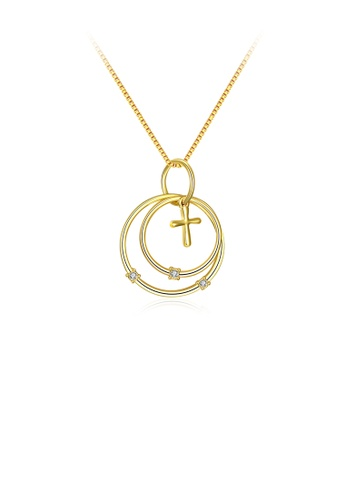 Glamorousky white Simple Plated Gold Cross Circle Pendant with Austrian Element Crystal and Necklace 998FAAC320002CGS_1