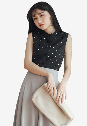 Tokichoi black Button Front Chiffon Polka Dot Top 00074AAA081EFCGS_1