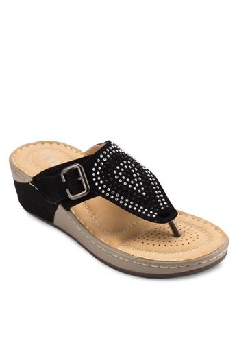 閃石夾腳楔形涼鞋, 女鞋, esprit outlet 桃園鞋