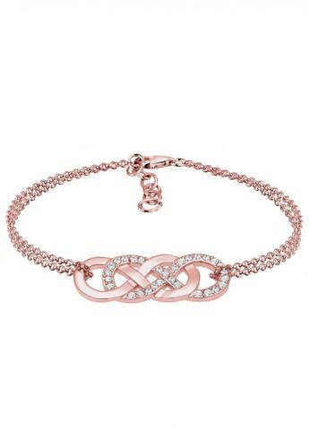 Elli Germany gold Perhiasan Wanita Perak Asli - Silver Gelang Infinity Swarovski® Crystal Rosegold Rosegold B18D3AC46BA3DDGS_1