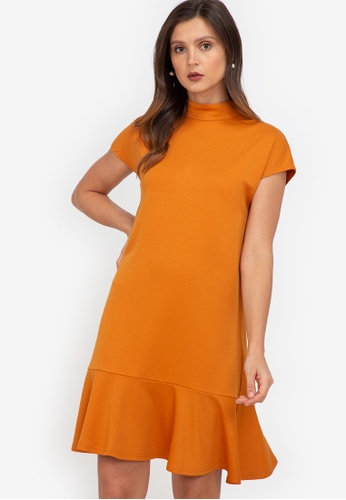 ZALORA WORK orange Mock Neck Fluted Hem Dress 6B825AA966FBA8GS_1