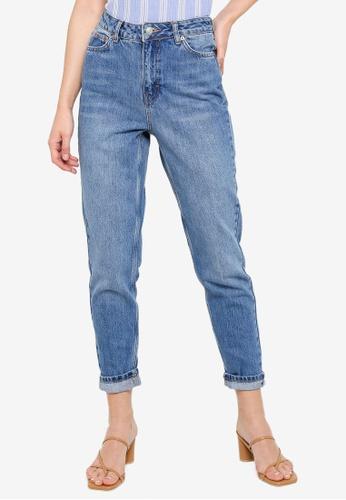 TOPSHOP blue Mid Denim Mom Jeans 2F62FAAA5AE430GS_1