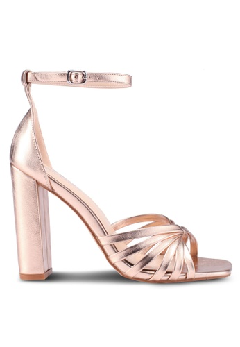 Public Desire pink and gold Milan Strap Toe Detail Block Heels 144CBSH216FBCAGS_1