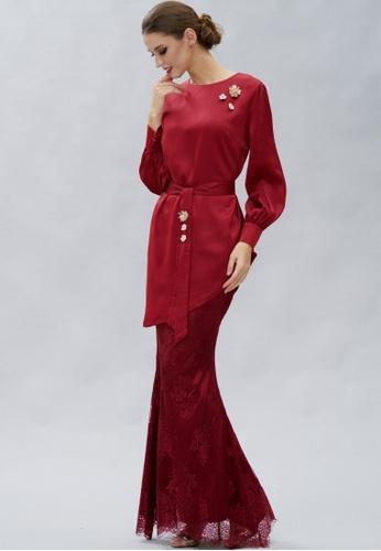 Loveaisyah red Maroon Flower Brooch Baju Kurung D58D8AA16CB649GS_1