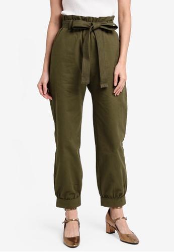 Something Borrowed green Contrast Stitch Paperbag Pants 49FDDAAF779388GS_1