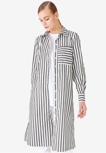 Trendyol 黑色 條紋Tunic 襯衫 48F00AAD7742A4GS_1