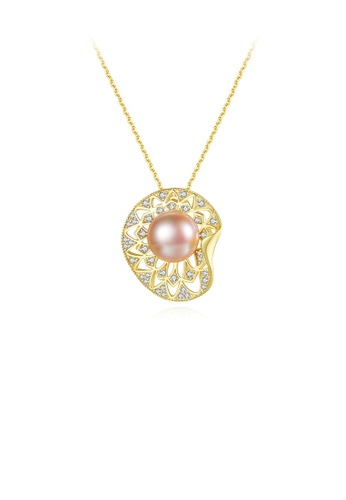 Glamorousky silver 925 Sterling Plated Silver Gold Elegant Simple Shell Pink Freshwater Pearl Pendant with Cubic Zirconia and Necklace 0F4D8ACA54D434GS_1