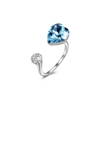 Glamorousky blue 925 Sterling Silve Elegant Romantic Sweet Blue Austrian Element Crystal Heart Shape Adjustable Opening Ring 7262AACDE88ABBGS_1