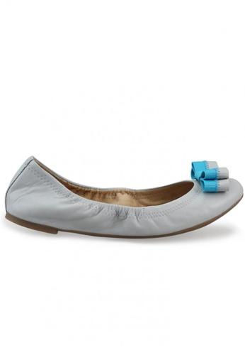 Shu Talk grey Nappa Round Toe Ballet Flats With Bow SH397SH0FPIUSG_1