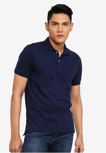 GAP navy Solid Pique Polo Shirt E0489AA5904769GS_1