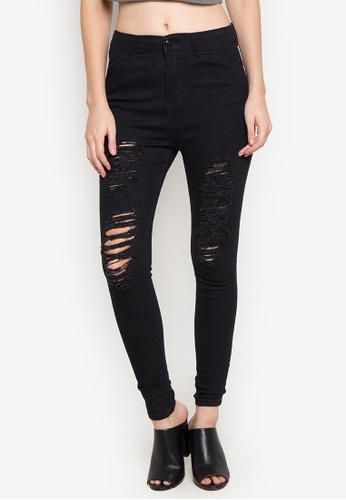 Balaynor black Fashion Skinny High Waist Jeans with Distressed Design B6A32AA6AFC301GS_1