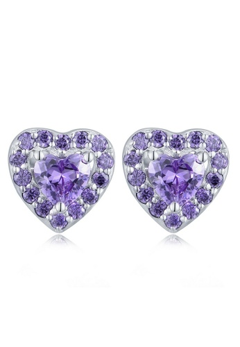 MBLife silver 925 Sterling Silver Purple CZ Heart Stud Earrings C264FACBF2AB18GS_1