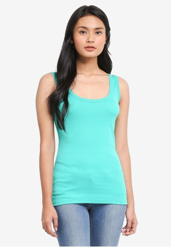 Dorothy Perkins green Pique Trim Vest Top 6E611AAE5AB912GS_1