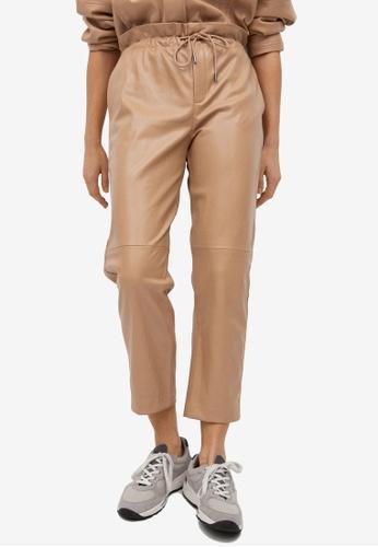 Mango beige Leather-Effect Elastic Waist Trousers 78A03AA6F25795GS_1