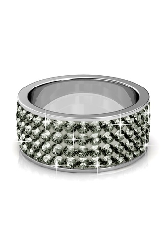 Her Jewellery grey Swarovski® Crystals - Roller Ring (Grey)(18K White Gold Plated) Her Jewellery HE581AC0RAK1MY_1