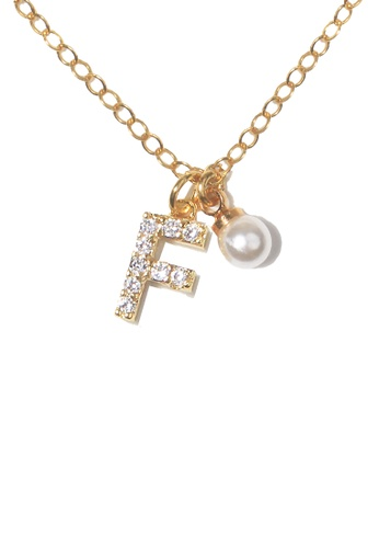 PSYNDROME gold Personalised Initial Diamond Letter Alphabet with Pearl Necklace - F 86569ACC8AF522GS_1