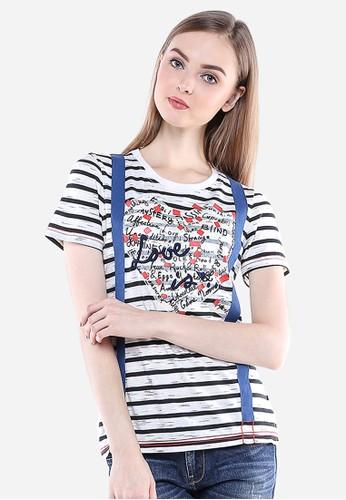 LGS white LGS - Slim Fit - Kaos Wanita - Putih/Hitam - Garis-garis. LG695AA98GWNID_1