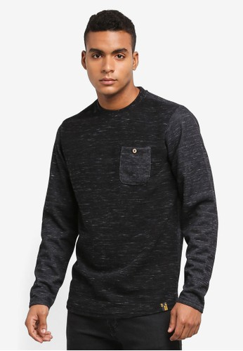 Indicode Jeans black EMRE Ribbed Pocket Sweater F0CB6AA58869FDGS_1