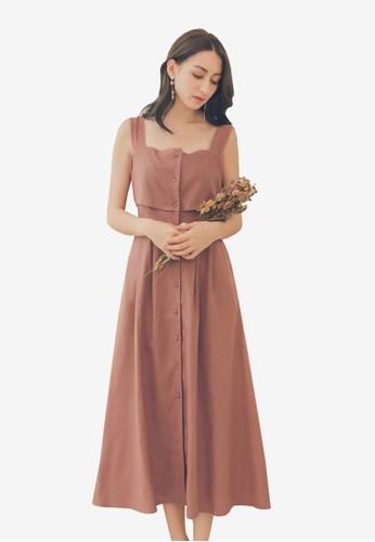 Yoco pink Bottom Up Pinafore Dress 9EA55AA213C097GS_1