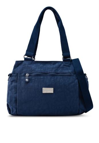 Bagstationz navy Crinkled Nylon Shoulder Bag 00551AC0518A32GS_1