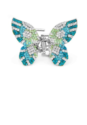 Glamorousky green Charming Butterfly Clamp with Blue Green and Silver Austrian Element Crystals 2B038AC1D06020GS_1