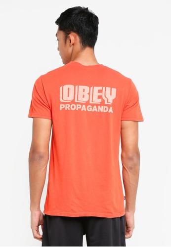 OBEY 紅色 短袖印花T恤 BCE88AA95A72B3GS_1