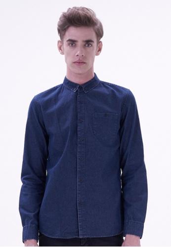 DRUM blue Long Sleeve Shirt DR425AA44HTJMY_1