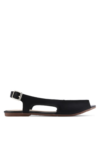 kiki black Burnished Faux Leather Sandals KI061SH65SGOMY_1