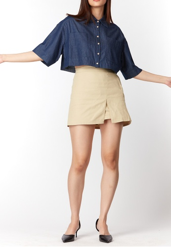 What To Wear One Side Slit Denim Skorts in Nude BFB03AA507EACAGS_1