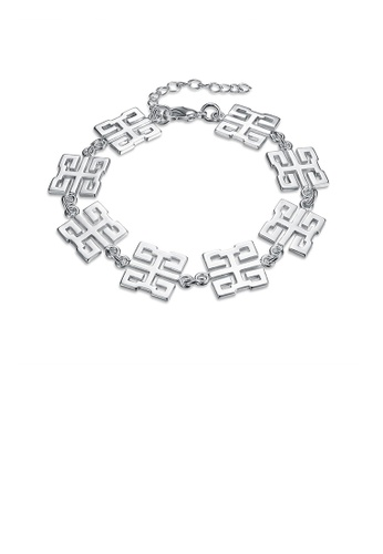 Glamorousky silver Fashion Simple Geometric Pattern Bracelet 8D3C6AC79565A7GS_1