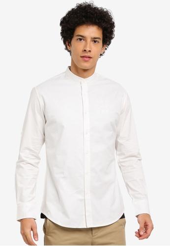 ZALORA white Mandarin Collar Oxford Shirt 4F3B5AAF43F8BBGS_1
