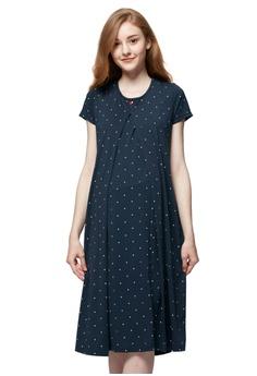 413378acde Mamaway navy Mickey Dotty Maternity   Nursing Pajama Dress  1869CAA5458691GS 1