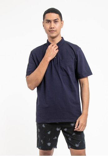 FOREST navy Forest Cotton Spandex Regular Fit Polo Tee with Pocket - 23620 - Navy DF5B6AA5A70432GS_1