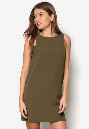 深V 露背直zalora 評價筒連身裙, 服飾, 短洋裝