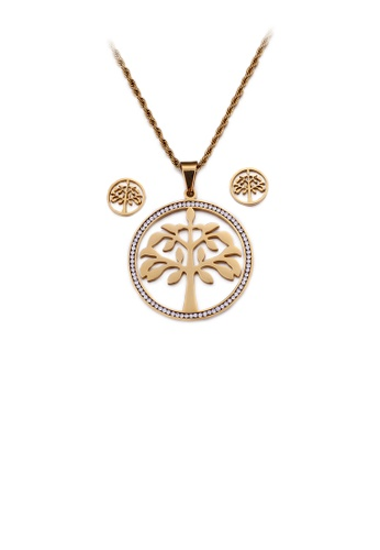 Glamorousky white Fashion and Elegant Plated Gold Tree Geometric Round 316L Stainless Steel Necklace and Stud Earring Set with Cubic Zirconia 96C27AC34DA21EGS_1