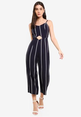 f2139fcb83a4 Buy AX Paris Striped Cut Out Waist Jumpsuit Online on ZALORA Singapore