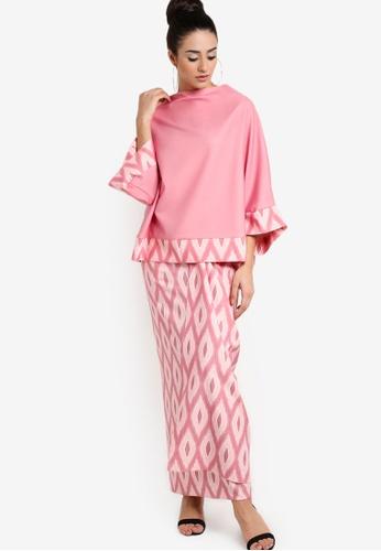 Tom Abang Saufi for ZALORA pink Sonya Wide Sleeves Top with Sarong Skirt TO576AA53GGOMY_1