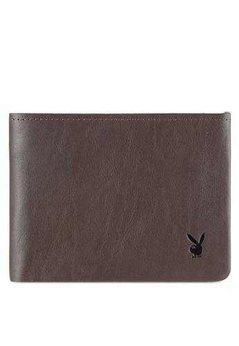Playboy grey Men's Genuine Leather Bi Fold Wallet PL371AC0RX5JMY_1