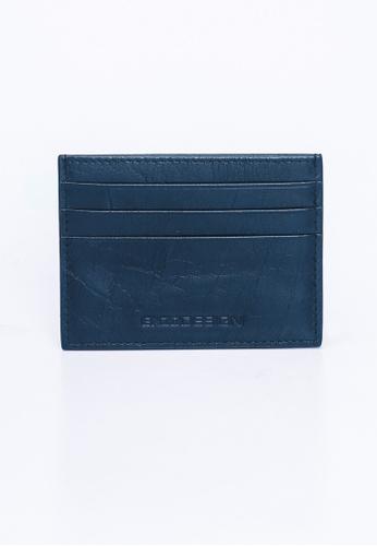 ENZODESIGN brown and navy Buffalo Leather Slim Card Holder EN357AC0F57TSG_1