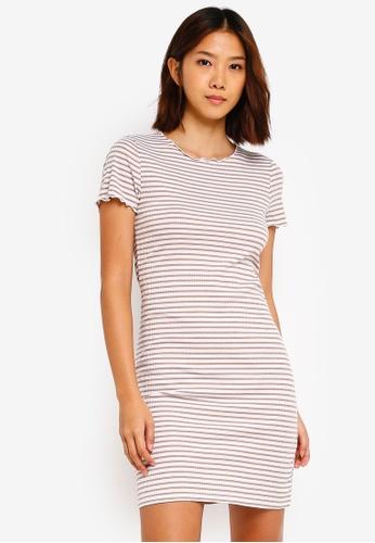 Cotton On brown Gracie Lettuce Edge T-Shirt Dress 0C47DAAAA73498GS_1