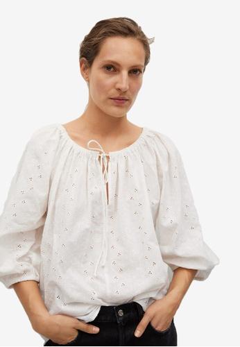 Mango beige Swiss Embroidery Cotton Blouse 11E0CAA53D8ACCGS_1