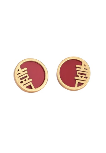 Kings Collection gold Chinese Traditional Wedding Word Earrings (KJEA20097) A6743AC880CDB4GS_1