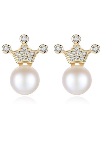SUNRAIS gold Premium color stone gold simple design earrings 2C3D7AC32B052EGS_1