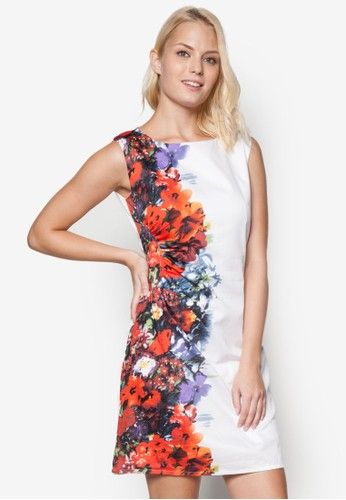 撞色印花無袖esprit 會員連身裙, 服飾, 洋裝