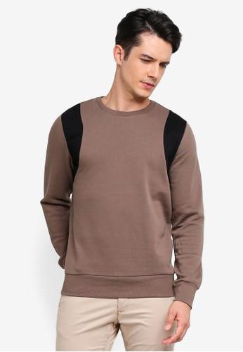 Brave Soul brown Contrast Panel Sweatshirt E14B4AA0A1A665GS_1