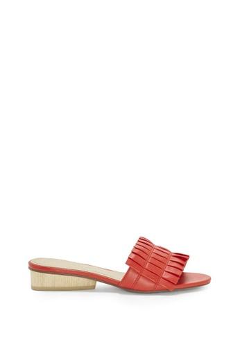 Enzo Angiolini red EN-PEGGIE Pleated Leather Sandals E99E5SHCA84AEFGS_1