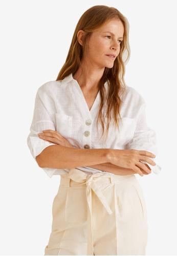 Mango white Buttoned Cotton Shirt CCE51AA8A67E02GS_1