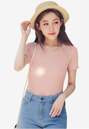 Eyescream pink Basic Frill Hem Top AB699AA5160209GS_1