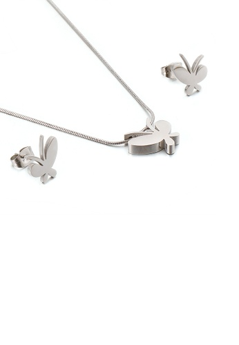 Glamorousky silver Simple and Fashion Butterfly 316L Stainless Steel Necklace and Stud Earring Set 4693FACD805A62GS_1