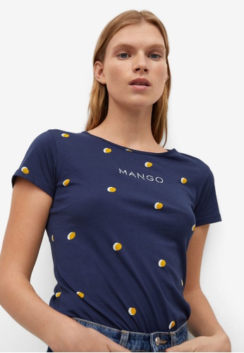 Mango blue Printed Logo T-Shirt 0C59DAA36232D0GS_1